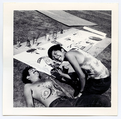 Paul Wong painting 'Bruce', Stadium Gallery, 1971, Courtesy of Paul Wong