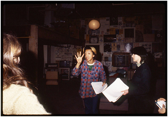 "Annastacia McDonald, Paul Wong and Jeanette Reinhardt at Video Inn, working on ""4"" script, c. 1979, Courtesy of Paul Wong"