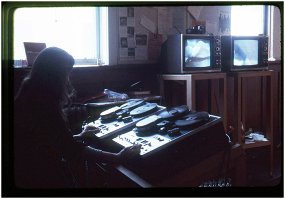 Annastacia McDonald in the editing suite, Western Front, c 1976, Courtesy of Paul Wong