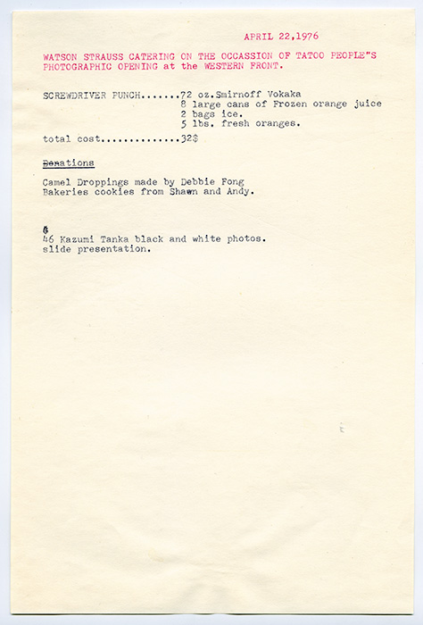 Mainstreeter menu, Watson Strasse Catering for Western Front, 1976, Courtesy of Paul Wong
