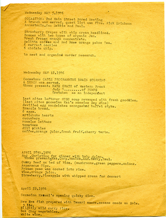 Mainsteeter menu, various meetings, 1976, Courtesy of Paul Wong
