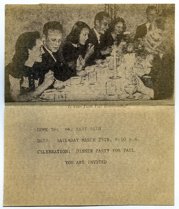 """Is Your Table Talk Entertaining?"" dinner party invitation, no date, Courtesy of Paul Wong"