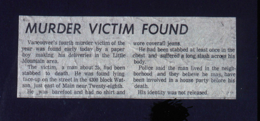 Vancouver Sun news clipping from Murder Research files, 1976, Courtesy of Paul Wong