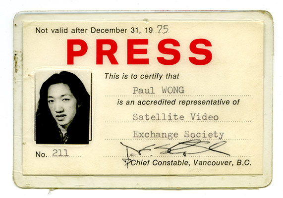 Press pass, Paul Wong, Satellite Video Exchange Society, 1975, Courtesy of Paul Wong