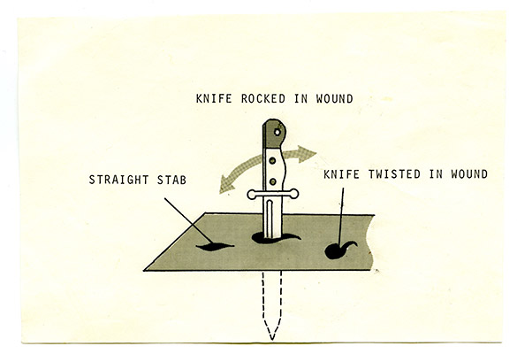 Kenneth Fletcher, Knife Rocked in Wound graphic, ink and lettraset on paper, from the Murder Research files, 1977, Courtesy of Paul Wong