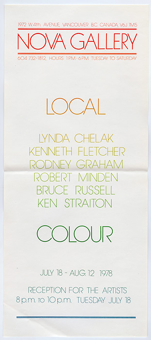 Nova Gallery, Local Colour exhibition poster, July 18 - August 12, 1978, Courtesy of Paul Wong