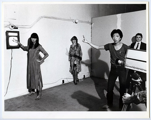Deborah Fong, Mary Janeway, Paul Wong, Jeanette Reinhardt, High Profile Slow Scan performance, Video Inn, Vancouver and CN Tower Toronto, October 13, 1978, Courtesy of Paul Wong