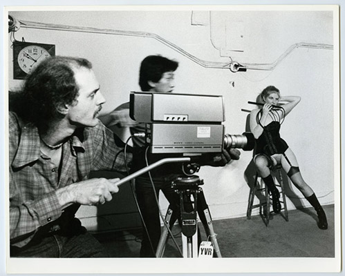 From left: Videographer: Andy Harvy with Paul Wong and Marlene MacGregor, High Profile Slow Scan performance, Video Inn, Vancouver and CN Tower, Toronto, October 13, 1978, Courtesy of Paul Wong
