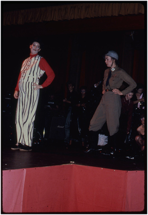 Annastacia McDonald (right) as S.S. Girl at the Living Arts Performance Festival, 1979, Courtesy of Paul Wong