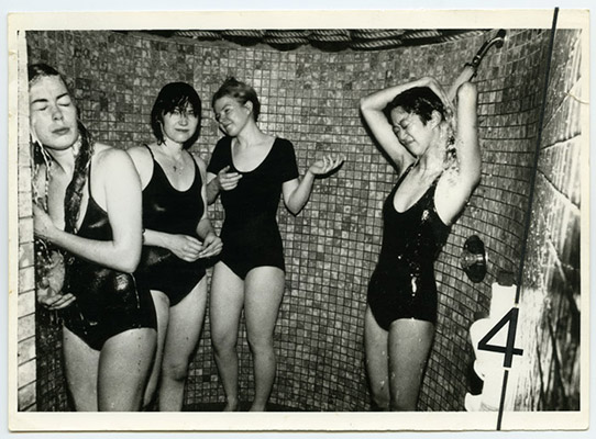 S.S. Girls in the shower. tour de '4' promotional postcard, 1980, Courtesy of Paul Wong