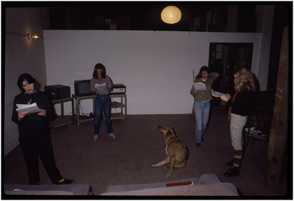 Jeanette Reinhardt, Deborah Fong, Annastacia McDonald, Carol Hackett and Rex the dog, rehearding the script for '4', Video Inn, 1979, Courtesy of Paul Wong