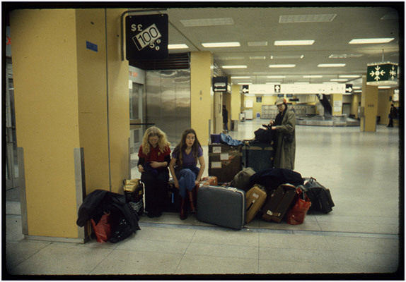 Carol Hackett, Annastacia McDonald and Jeanette Reinhardt at unidentified airport, tour de '4', 1980, Courtesy of Paul Wong