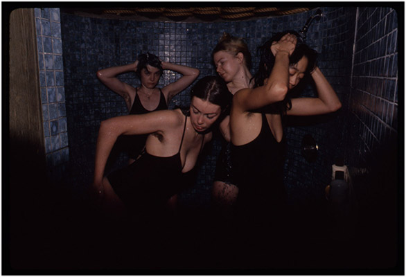 Jeanette Reinhardt, Annastacie McDonald, Carol Hackett and Deborah Fong in the shower during tour de '4' promotional shoot, c. 1979, Courtesy of Paul Wong