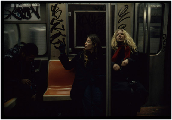 Annastacia McDonald and Carol Hackett on a New York City subway during tour de '4', 1980, Courtesy of Paul Wong