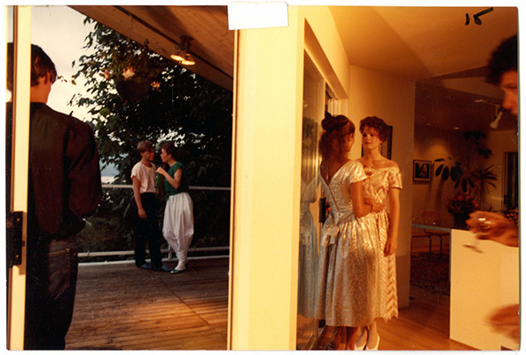 "Prime Cuts party scene production still, From left: ""Troy"", Brad Gough, Annastacia McDonald, ""Patricia"", ""Diane"" and Johnny Bellis, 1981, Courtesy of Paul Wong"
